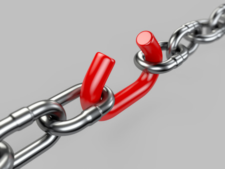 Steel chain with red brooken link - conceptual image
