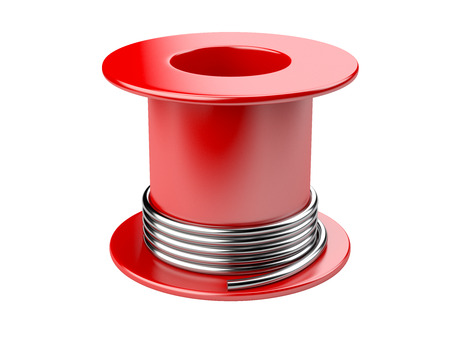 Red coil with wire. 3d illustration on a white background Фото со стока