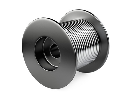 bobina: bobina de negro con alambre. 3d ilustración sobre un fondo blanco Foto de archivo