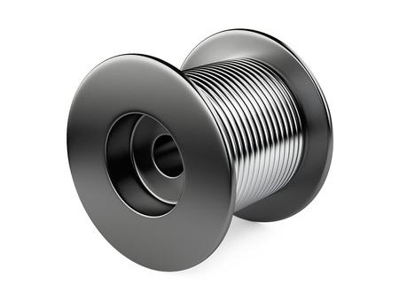 spirale: Schwarz Spule mit Draht. 3D-Darstellung auf weißem Hintergrund Lizenzfreie Bilder