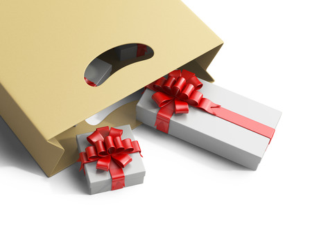 resent: Shopping bag with gifts box isolated on white background 3d image. Stock Photo