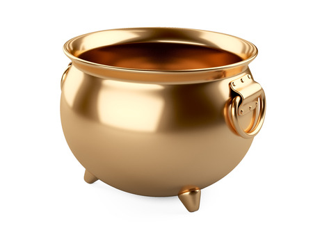 caldron: 3d render Empty gold pot isolated on white background. Stock Photo