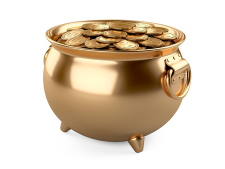golden pot: 3d render pot of gold. cauldron full of coins isolated on white background. Stock Photo