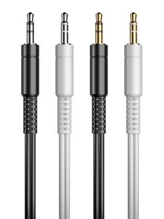 mini jack: 3.5 mm audio mini jack plug set isolated on a white background 3d image Stock Photo