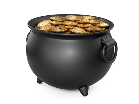 caldron: 3d render black pot of gold. cauldron full of coins isolated on white background. Stock Photo