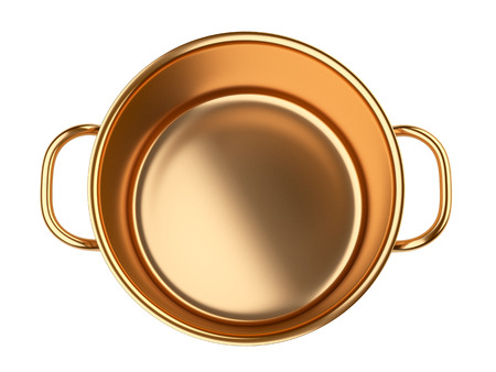 stainless steel pot: Golden saucepan.. Isolated over white background 3d image.