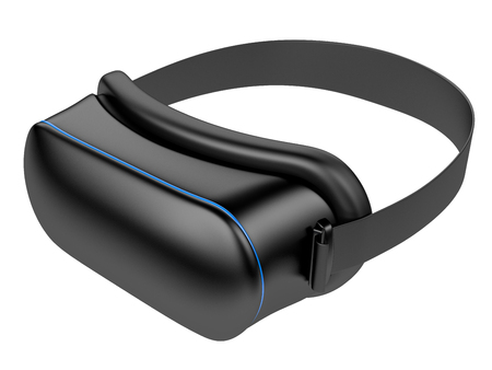 immersion: Virtual 3d reality blcak goggles isolated on a white background