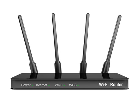 adsl: Modern Wi-Fi Router. Isolated on a white background 3d image