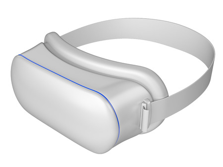 headset: Virtual 3d reality white goggles isolated on a white background