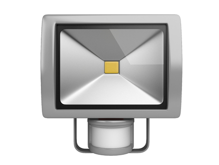 motion sensor: A LED spotlight with motion Sensor. Front view isolated on white background.