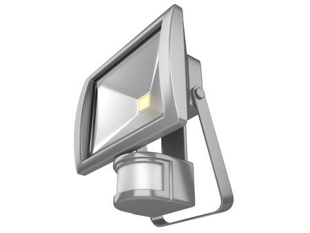alumbrado: Un foco LED resistente al agua con sensor de movimiento aislado sobre fondo blanco.
