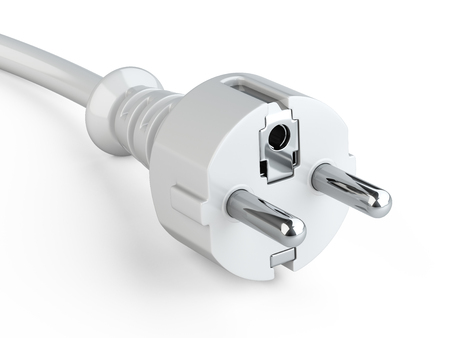 White power plug with grounding and electric cable. 3d illustration on a white background