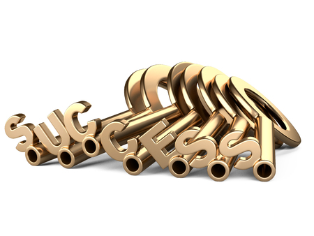 Golden keys to success. Conceptual 3d image isolated on a white background.