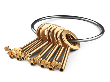 rin: Golden keys to success on a rin. Conceptual 3d image isolated on a white background.