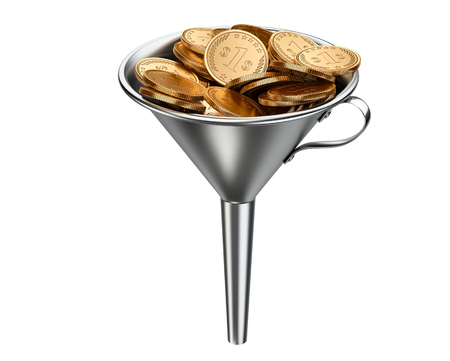 pile of coins: Steel funnel with pile coins . Business investment - concept. 3D illustration isolated on white background.