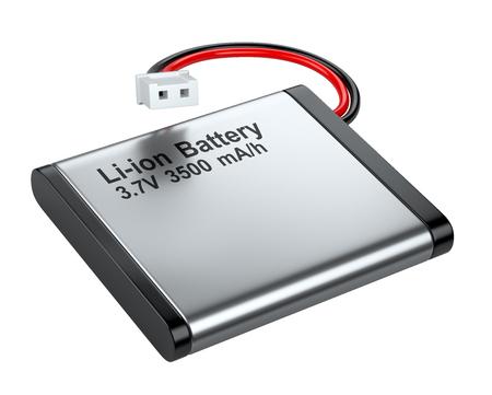 Oplaadbare Li-ion batterij met een connector. Geïsoleerd witte achtergrond 3D-beeld op