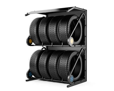winter tires: Summer and winter tires set for sale at a tire store. 3d image isolated on a white background. Stock Photo
