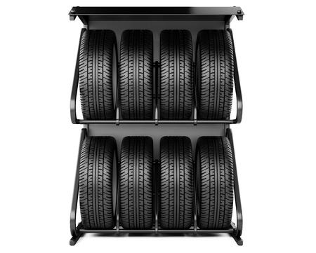 llantas: Los neumáticos de verano e invierno establecen para la venta en una tienda de neumáticos, Viev delante. 3d imagen aislada en un fondo blanco.