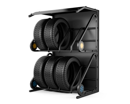 radial tire: Summer and winter tires at a tire store. 3d image isolated on a white background.