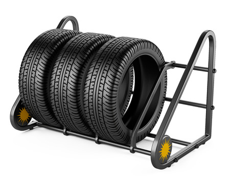 Summer tires set for sale at a tire store. 3d image isolated on a white background. Stock fotó