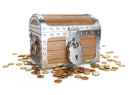 treasury: Closed wooden treasure chest with golden coins. Isolated on a white background 3d image. Stock Photo