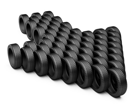radial tire: Tires stacked in the form of arrow down. Conceptual  3d image isolated on a white background. Stock Photo