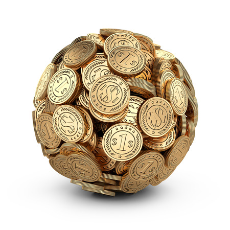 concep: Gold coins assembled in a form sphere isolated on white background. Business success concep.