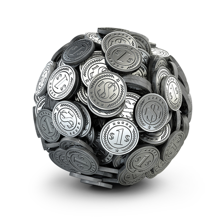 concep: Silver coins assembled in a form sphere on a grey background. Business success concep. Stock Photo