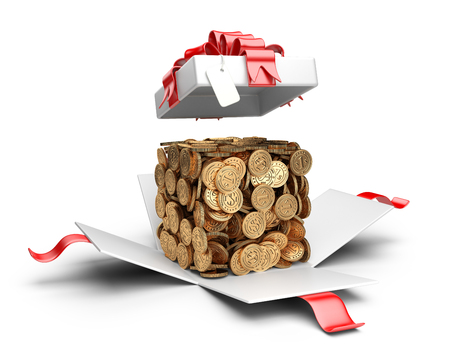 compiled: Open gift box with coins compiled in a form cube inside. Money concept. Stock Photo