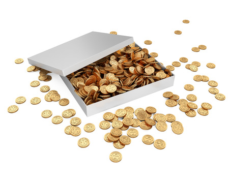 White gift box with golden coins. Isolated on a white background 3d image.