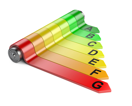 energy performance certificate: Energy efficiency concept with rating chart. 3d image isolated on a white background
