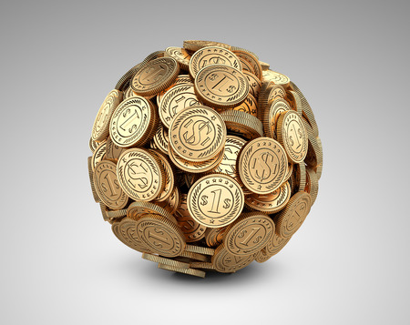 concep: Gold coins assembled in a form sphere on a grey background. Business success concep.
