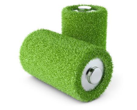 Groene energie. Batterij uit gras witte achtergrond 3D-beeld. Stockfoto