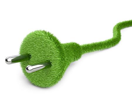 enchufe: Alternativa una energía neta. 3d imagen conceptual. La hierba cubrió el enchufe eléctrico y el cable.