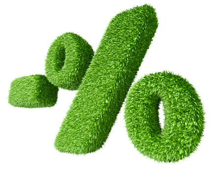 percentage sign: Percentage sign covered by grass. Isolated on white background 3d image.