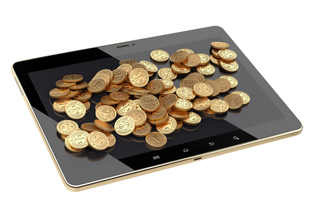 touch pad: Pile coin on a touch pad tablet. Business finance concept. 3D image isolated on a white background.