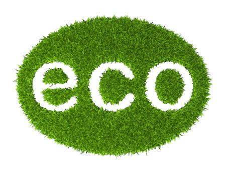 green grass: Eco sign oval stamp from green grass. 3d illustration isolated on a white background.