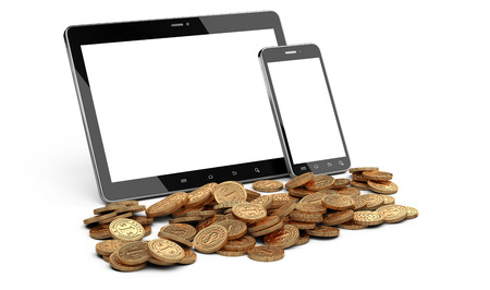 wining: Digital tablet and smartphone with white screen and heap of coins. Stock market or gambling 3d concept.
