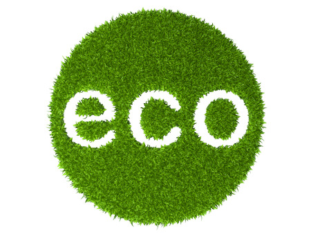 Eco sign round stamp from green grass. 3d illustration isolated on a white background.