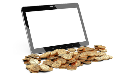 wining: Digital tablet with white screen and heap of coins. Stock market or gambling 3d concept.