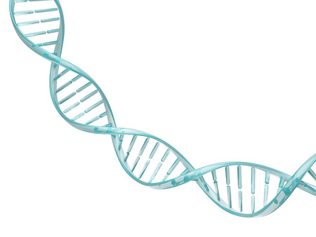 Glass spiral DNA strand. Isolated on a white background image. 3D illustration for design.