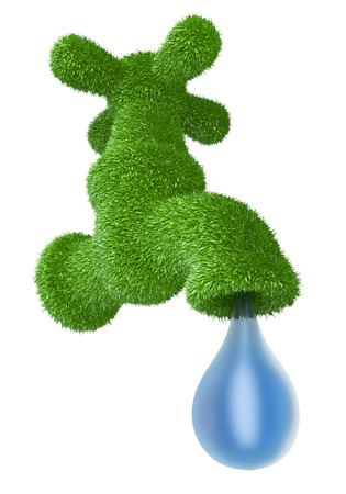 Faucet grassy - clean water concept. Tap covered grass with drop  water isolated on a white background 3d illustration.