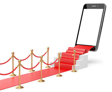 velvet rope barrier: 3D Illustration of a Staircase covered with red carpet with barrier rope and modern smartphone on top