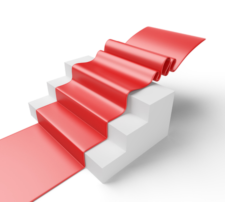 prestige: 3D Illustration of a staircase with red carpet