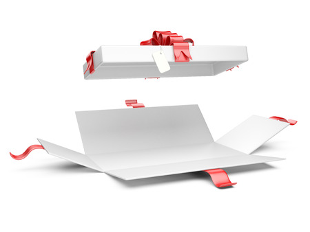 gift ribbon: Opened gift box blank with red ribbon and bow. Isolated on a white background 3D illustration