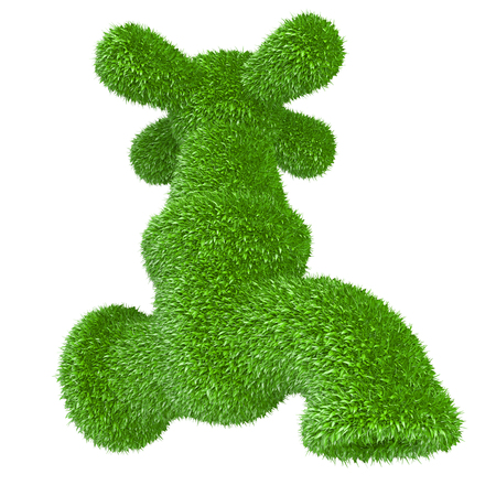 peace pipe: Faucet grassy - clean water concept. Tap covered grass water isolated on a white background 3d illustration.