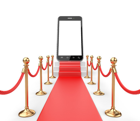 velvet rope barrier: 3D Illustration of a Staircase covered with red carpet with barrier rope and modern smartphone on top front view Stock Photo