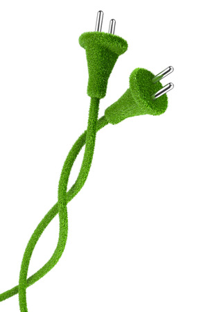 electrical energy: Grass covered electrical two plug and cord. 3d eco conceptual image. Alternative a net energy.