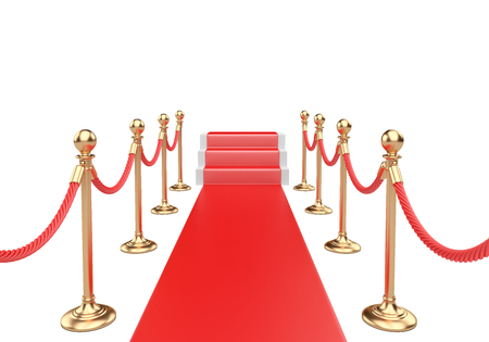 Red carpet and stairs between two gold stanchions with rope. 3d illustration on a white.