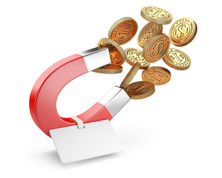 Money horseshoe magnet attracting gold dollar coins with tag. Investition business concept 3d illustration.